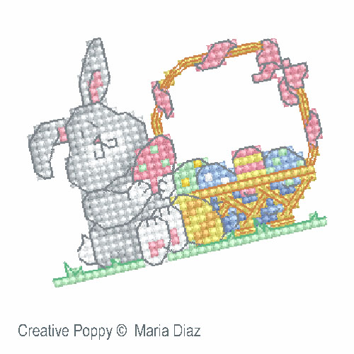 Easter Chick and Bunny cross stitch pattern by Maria Diaz designs, zoom 1