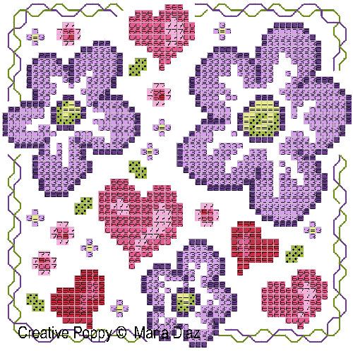 Pink & Purple Florals cross stitch pattern by Maria Diaz Designs, zoom 1