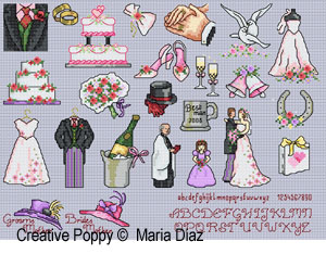 Bride and Groom's mothers' hats - Wedding, designed by Maria Diaz - Cross stitch mini motifs
