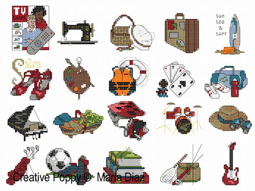 Hobbies I (20 cross stitch motifs) cross stitch pattern by Maria Diaz