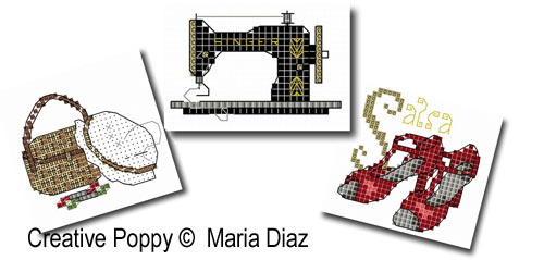 Hobbies I (20 cross stitch motifs) cross stitch pattern by Maria Diaz, zoom 1