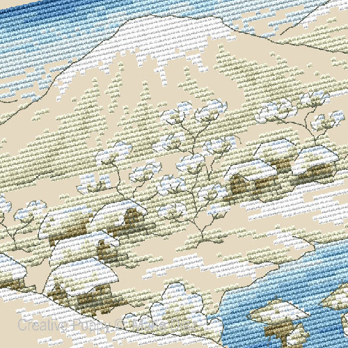 Japanese Snowscape cross stitch pattern by Maria Diaz Designs, zoom1