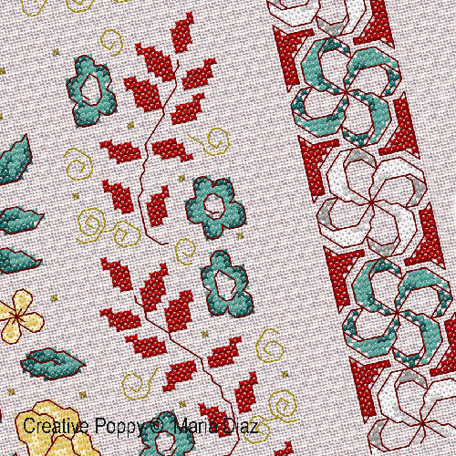 Oriental florals cross stitch pattern by Maria Diaz Designs, zoom3