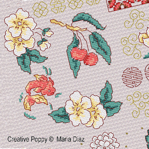 Oriental florals cross stitch pattern by Maria Diaz Designs, zoom1