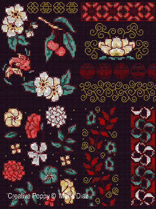Oriental florals cross stitch pattern by Maria Diaz Designs, zoom 1