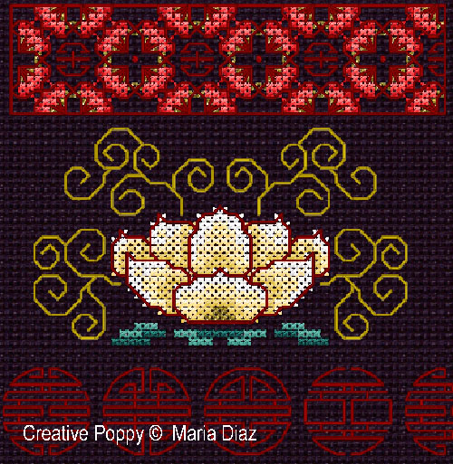 Oriental florals cross stitch pattern by Maria Diaz Designs