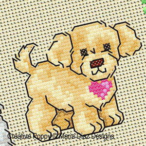 Puppy Love cross stitch pattern by Maria Diaz designs, zoom 1