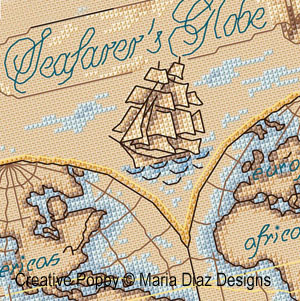 Seafarer's Globe cross stitch pattern by Maria Diaz, zoom2