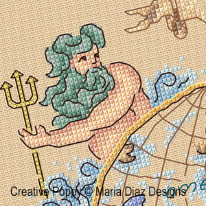 Seafarer's Globe cross stitch pattern by Maria Diaz, zoom3