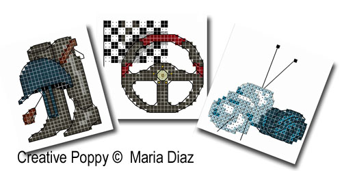 Hobbies II (15 cross stitch motifs) cross stitch pattern by Maria Diaz, zoom 1