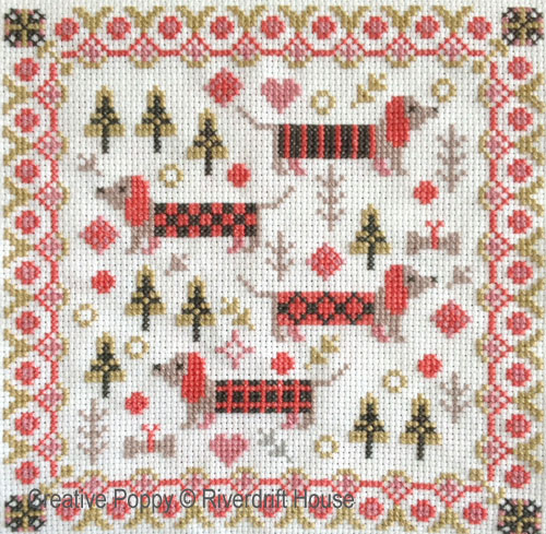 Riverdrift House - Mini Long Dogs (cross stitch chart)