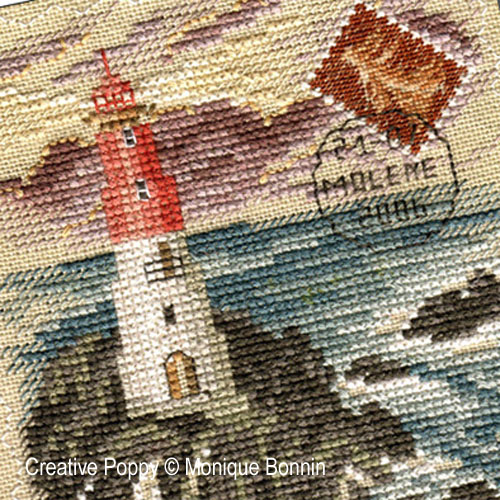 Vintage postcard: Avis de Tempête - Incoming Storm cross stitch pattern by Monique Bonnin, zoom 1