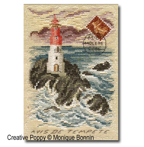 Vintage postcard: Avis de Tempête - Incoming Storm cross stitch pattern by Monique Bonnin