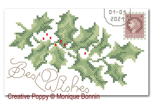 Holly Greeting card cross stitch pattern by Monique Bonnin, zoom 1