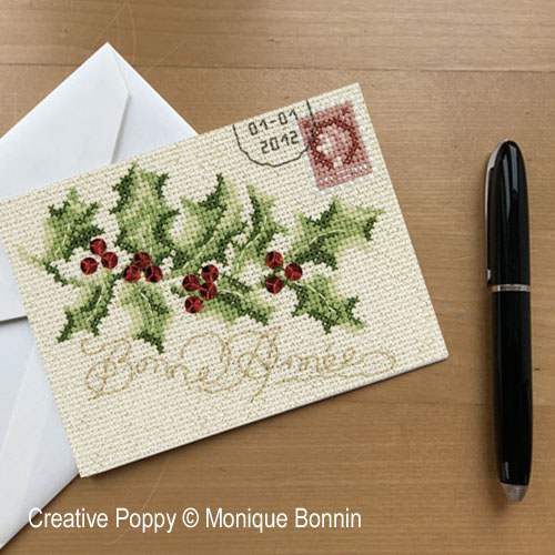 Holly Greeting card cross stitch pattern by Monique Bonnin