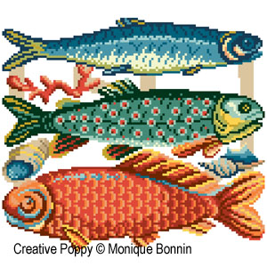 Fishmarket cross stitch pattern by Monique Bonnin