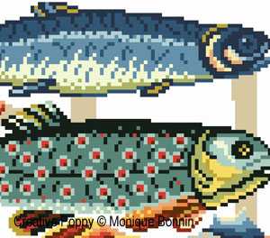 Fishmarket cross stitch pattern by Monique Bonnin, zoom 1