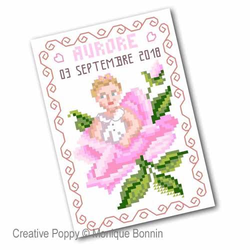 Vintage Postcards - Baby Birth  cross stitch pattern by Monique Bonnin