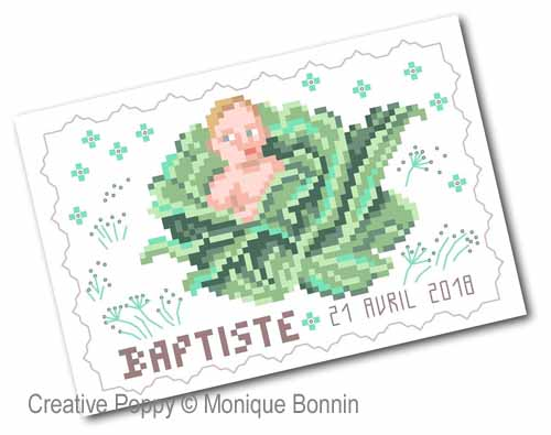 Vintage Postcards - Baby Birth  cross stitch pattern by Monique Bonnin, zoom 1