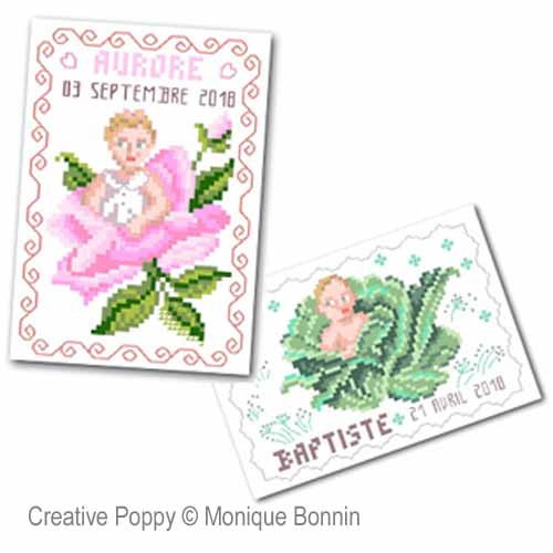 Vintage Postcards - Baby Birth  cross stitch pattern by Monique Bonnin