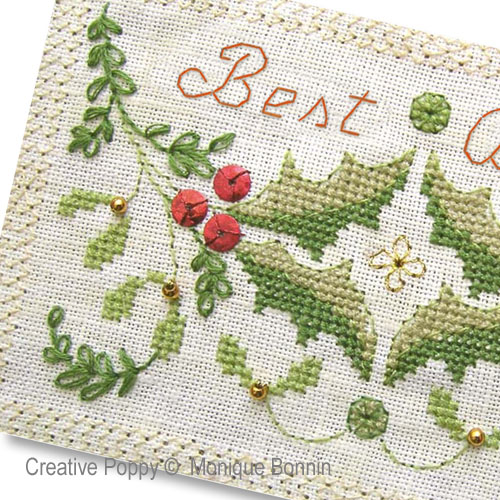 Best Wishes - Greeting Card cross stitch pattern by Monique Bonnin, zoom 1
