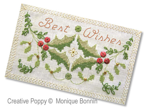 Best Wishes - Greeting Card cross stitch pattern by Monique Bonnin