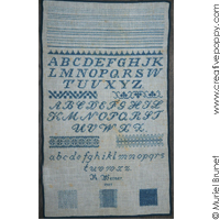 Antique sampler: R. Werner 1907 - Reproduction sampler - charted by Muriel Berceville