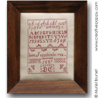 Small German Sampler 1897 D.E. - Reproduction sampler - charted by Muriel Berceville