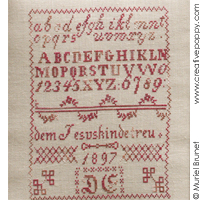 Small German Sampler 1897 D.E. - Reproduction sampler - charted by Muriel Berceville (zoom 1)