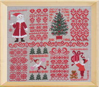 Christmas sampler with red Borders - cross stitch pattern - by Perrette Samouiloff