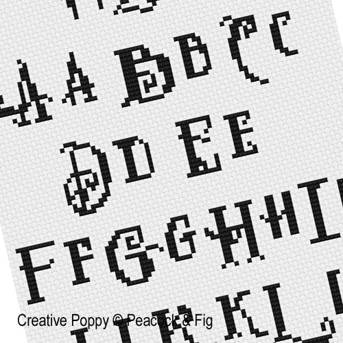 Peacock & Fig - Alphabet 3 zoom 1 (cross stitch chart)