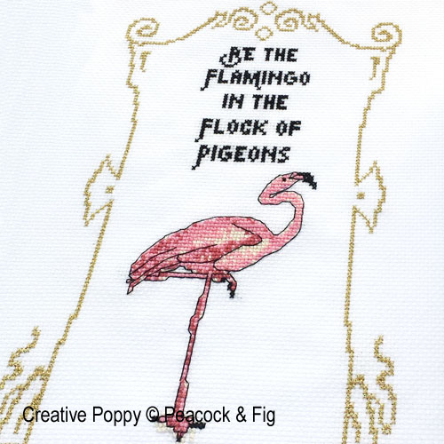 Peacock & Fig - Be the Flamingo zoom 1 (cross stitch chart)