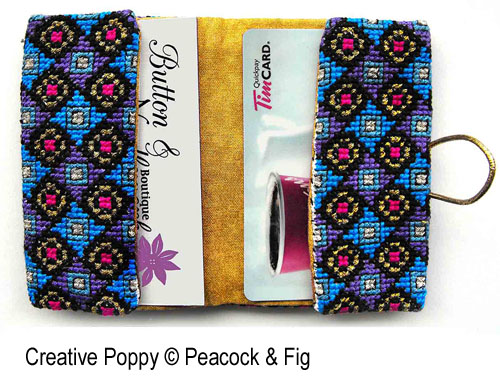 Peacock & Fig - Business Card Holder zoom 1 (cross stitch chart)