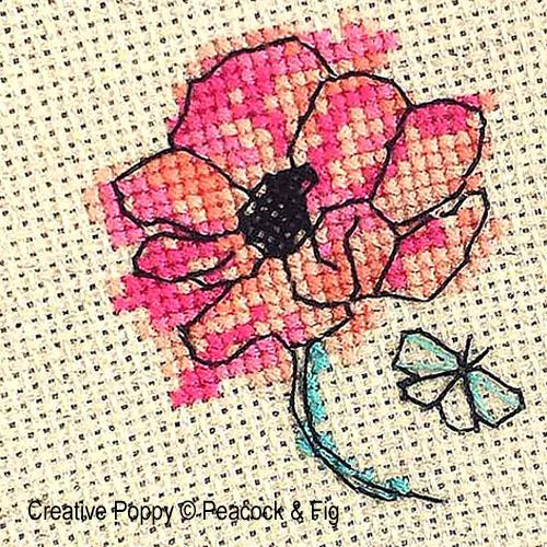 peacock fig fleur et papillon zoom 1 cross stitch chart