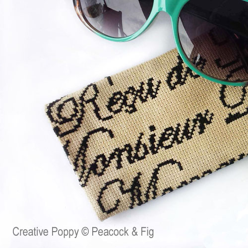 French Glasses Case cross stitch pattern by Peacock & Fig, zoom 1