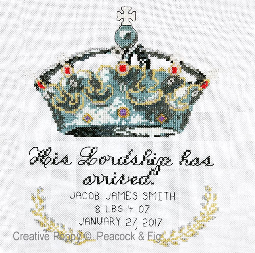 His Lordship (Birth annoucement) cross stitch pattern by Peacock & Fig