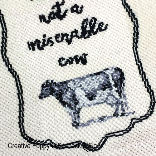 Miserable Cow cross stitch pattern by Peacock & Fig, zoom 1