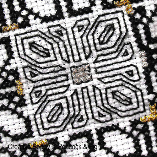 Stitches used for Blackwork: backstich, double running stitch, Holbein stitch