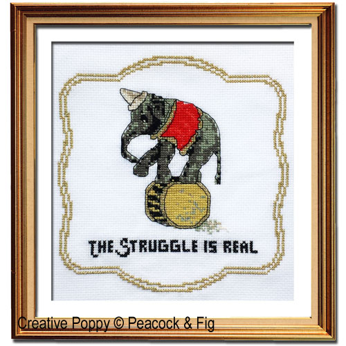 Peacock & Fig - The Struggle is Real (cross stitch chart)