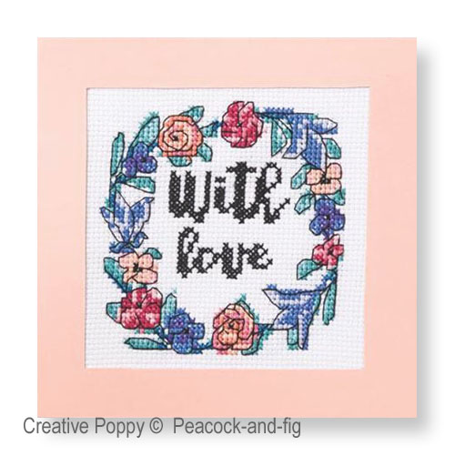 With Love - Notecards cross stitch pattern by Peacock & Fig, zoom 1