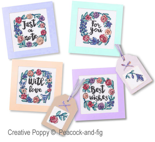 With Love - Notecards cross stitch pattern by Peacock & Fig