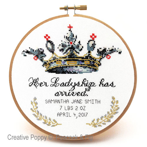 Her Ladyship (Birth announcement) cross stitch pattern by Peacock & Fig