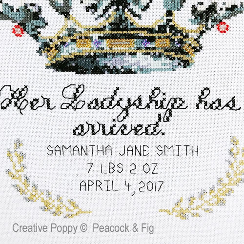 Her Ladyship (Birth announcement) cross stitch pattern by Peacock & Fig, zoom 1