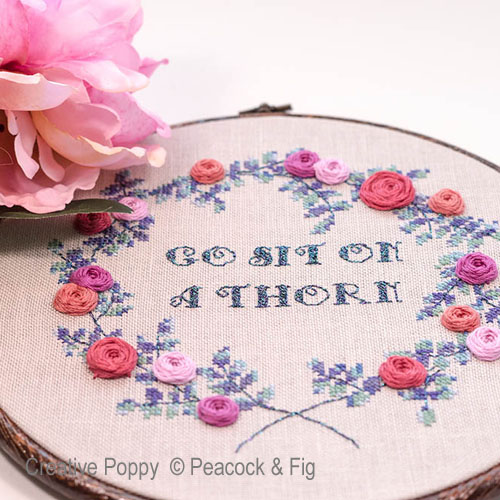 Sit on a Thorn cross stitch pattern by Peacock & Fig