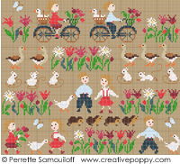 Happy Childhood, The geese (large) - cross stitch pattern - by Perrette Samouiloff