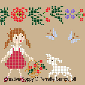 Lamb in Poppy field cross stitch pattern by Perrette Samouiloff, zoom1