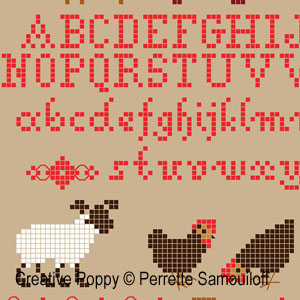 Lamb in Poppy field cross stitch pattern by Perrette Samouiloff, zoom2