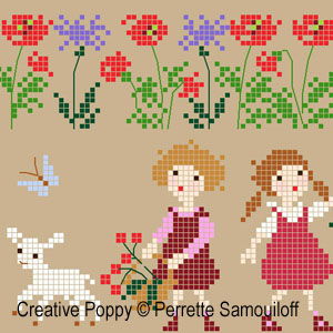 Lamb in Poppy field cross stitch pattern by Perrette Samouiloff, zoom3