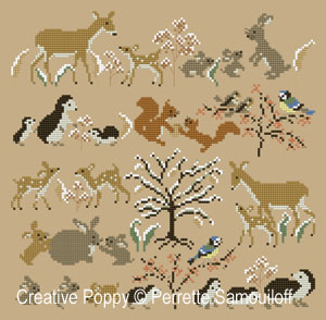 Mother and baby animals, Winter (large) - cross stitch pattern - by Perrette Samouiloff