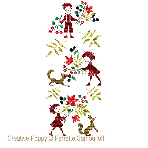 Autumn miniatures cross stitch pattern by Perrette Samouiloff, zoom 1